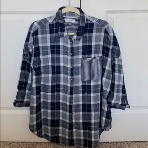 Anthropologie oversized plaid button down shirt